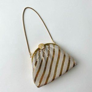 vintage gold and white chainmail evening bag